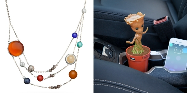 Nerdy moms are fun to buy gifts for, like this solar system necklace and Groot USB charger