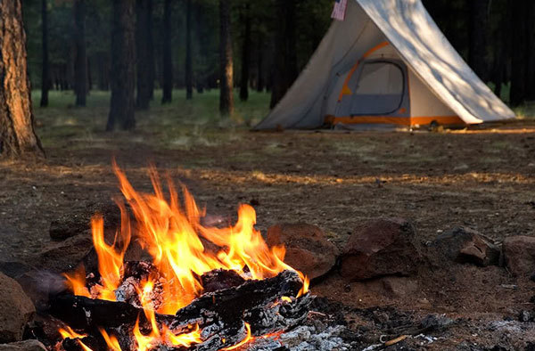 Make sure your tent is far enough away from your campfire