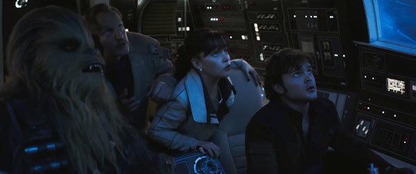 Chewie, Beckett, Qi'ra and Han make the Kessel run