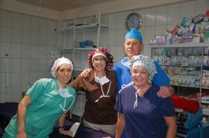 peru medical mission with cute scrub hats