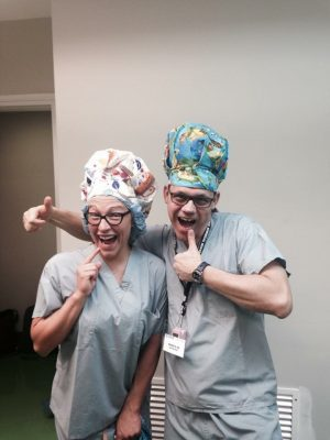 fun scrub hats on people