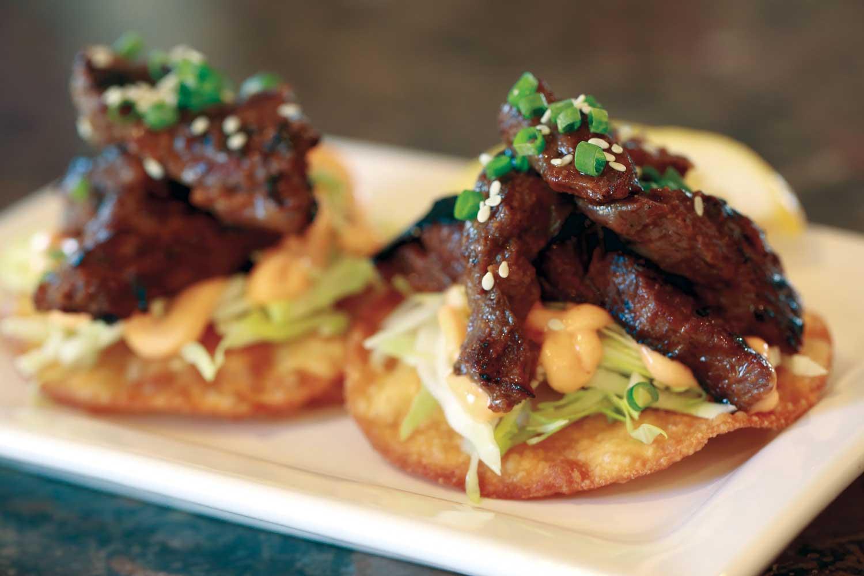 Miso Sriracha Hanger Steak Tostadas