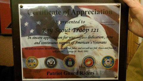 Boy scouts honor veterans kmzu kmzu boy scout troop 121 was presented a certificate of appreciation from the patriot guard riders for our service to the veterans boy scout troop 121 would yadclub Image collections