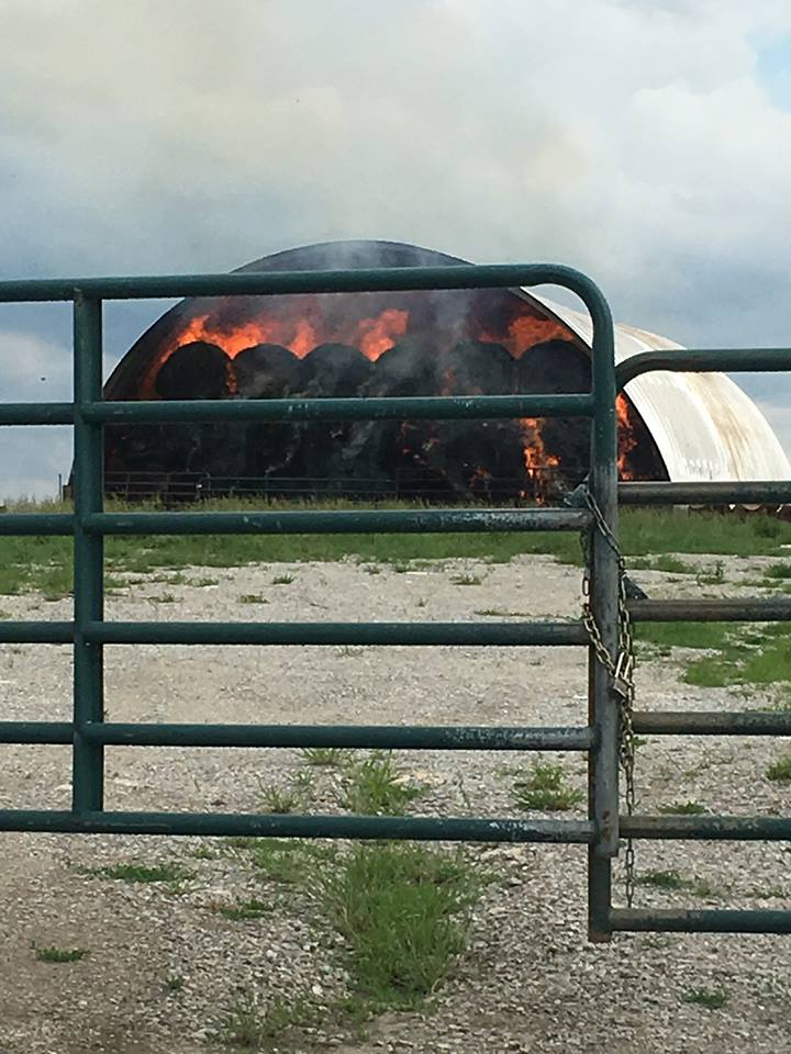 Hay shed fire west of Bosworth