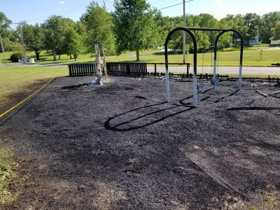 UPDATE–Roughly $30,000 estimated in damage following weekend playground fire; 3 juveniles identified