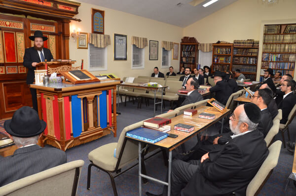 Partial view of the approximately 80 people who came to hear Rav Eliezer Cohen deliver a hesped for Rebbitzen Kotler