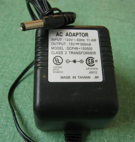 AC Adapter Model SCP48-150500 15V 500mA Power Supply