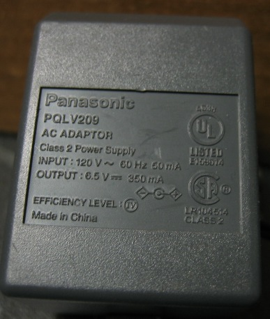 Panasonic Power Supply AC Adapter PQLV209 350mA