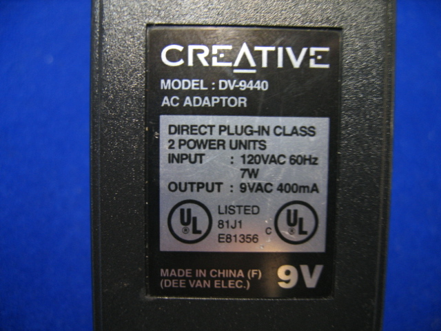 Creative DV-9440 Class 2 9V 400mA AC Adapter Power Supply