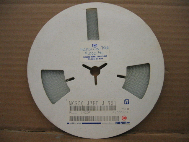 Reel of Rohm MCR25JZHMJW821 Resistors 750 Ohm
