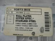 Eagle 93873 3 Gang Jumbo Stainless Non-Mag Plate Qty 5