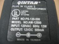 Quintar Class 2 Transformer AM-12500 12VDC 500MA