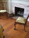 Mixture of select and common reclaimed Longleaf Pine flooring 1x8 with light stain.