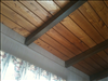 Common Cypress 2x8 T&G V-Joint used for an exposed beam cathedral ceiling.