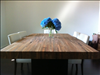 Thick select sinker Cypress table made from 1x4 planks.