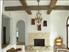 Sinker Cypress ceiling beams with hand hewn, weathered look.
