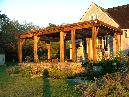 Cypress rough sawn beam shade arbor