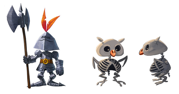 An additional animated armor/skeletal owl enemy. The armor keeps watch and charges at you, while the skeletal owl keeps its distance and pelts you with bones.