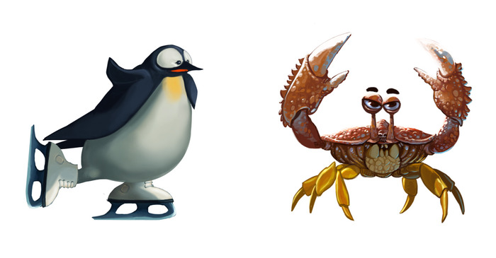 The speedy skating penguin is difficult to hit and the slow, armored crab is nigh-indestructible… unless you catch them outside of their element.