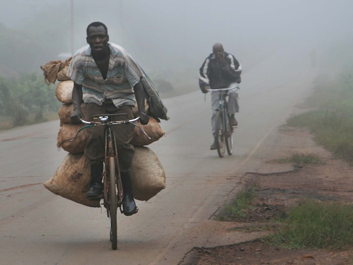 A boda boda carrying heavy loads
