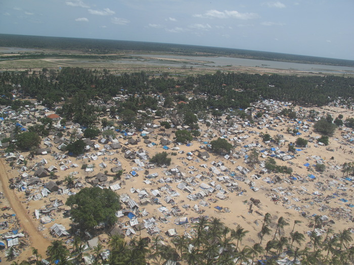 Aerial view of the battle zone, days after cessation of the fighting. Puttamattalan Beach, Vanni.