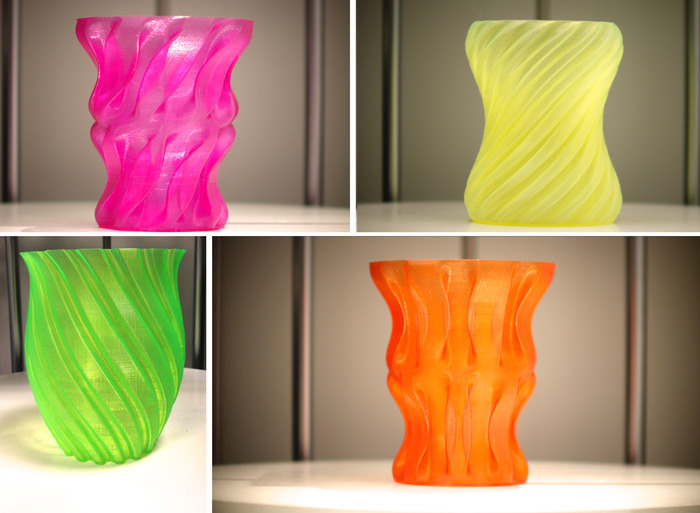 High-quality printouts from ZEUS (Scripted Vases 3D Model Source: http://www.thingiverse.com/thing:104694)