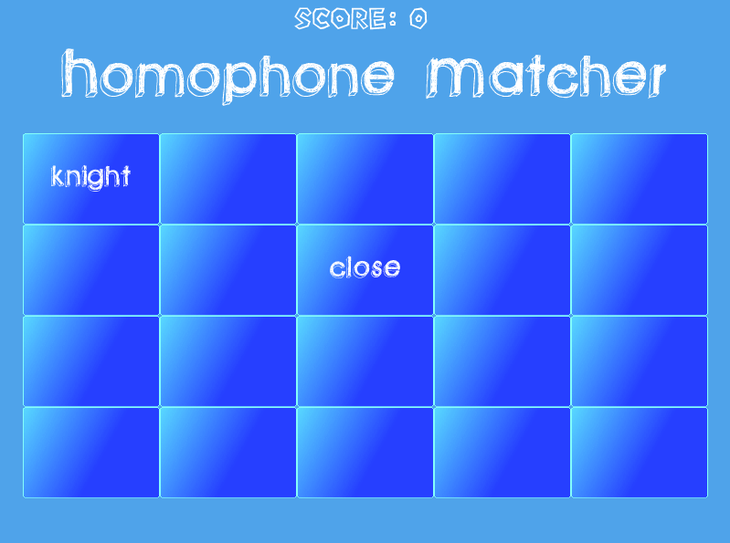 Homophone Matcher | Free English Word Game for Elementary Students