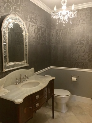 White Onyx Powder Room