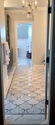 Master Bathroom w custom Tile
