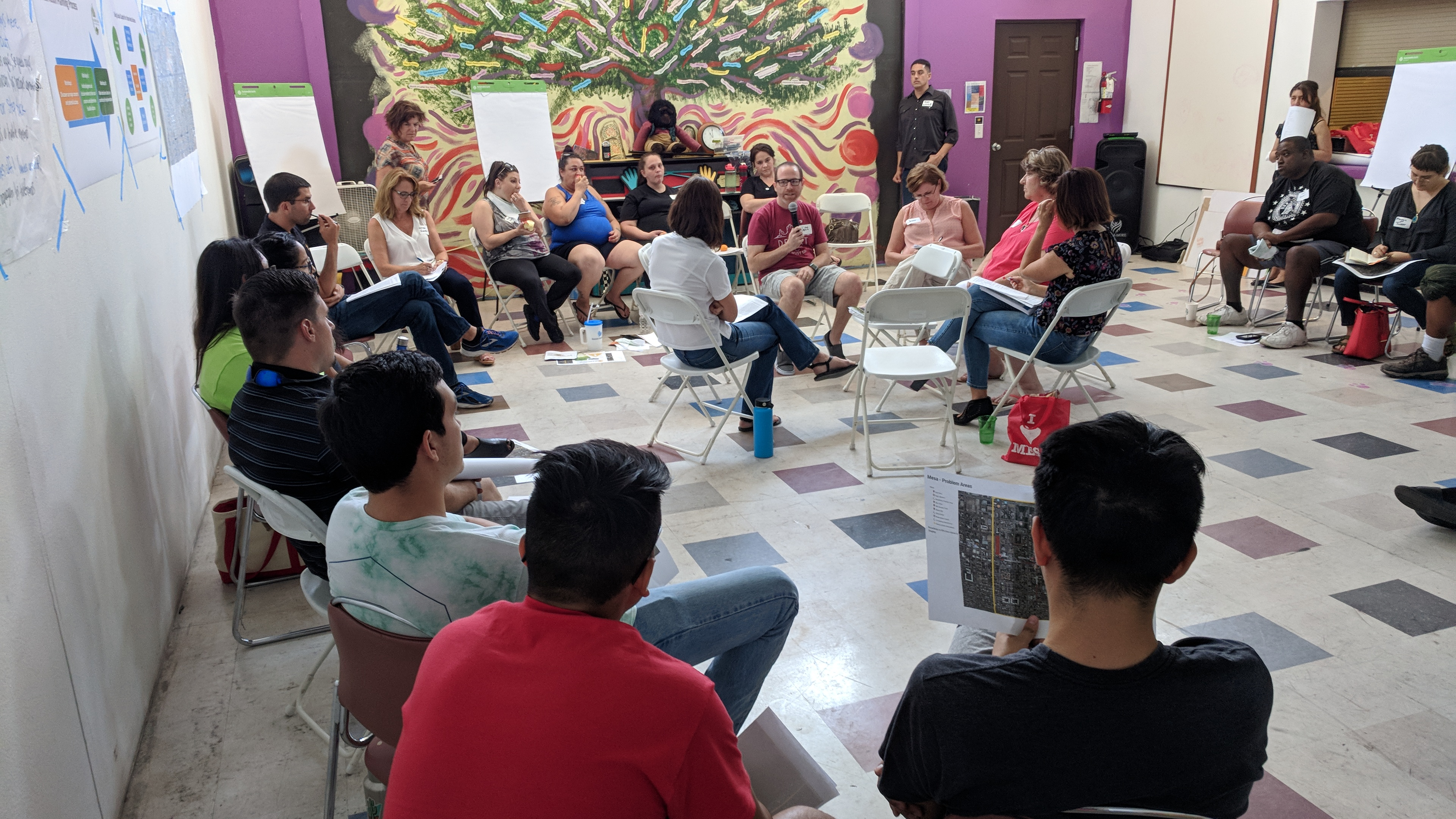 During conversations with city decision-makers in Phoenix, chairs are left open in the middle for residents to sit and ask questions or make comments. This was a technique that the Center for Whole Communities encouraged when designing the format of Heat Action Planning workshops/David Crummey