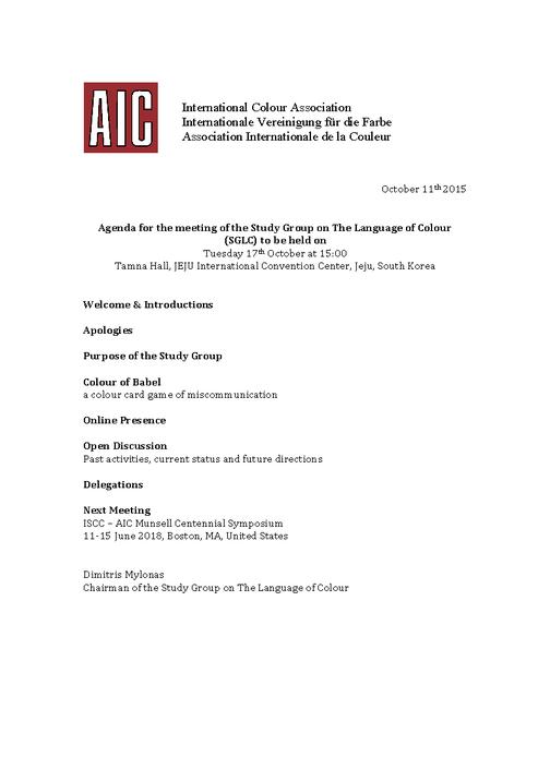 Agenda SGLC meeting