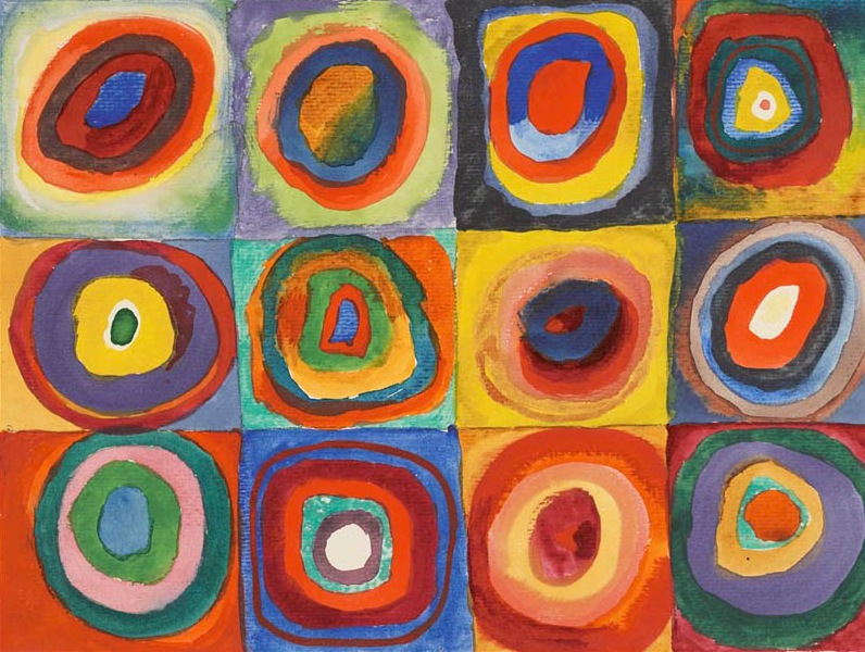 Vassily Kandinsky (1913) Color Study – Squares with Concentric Circles (reproduction in public domain)