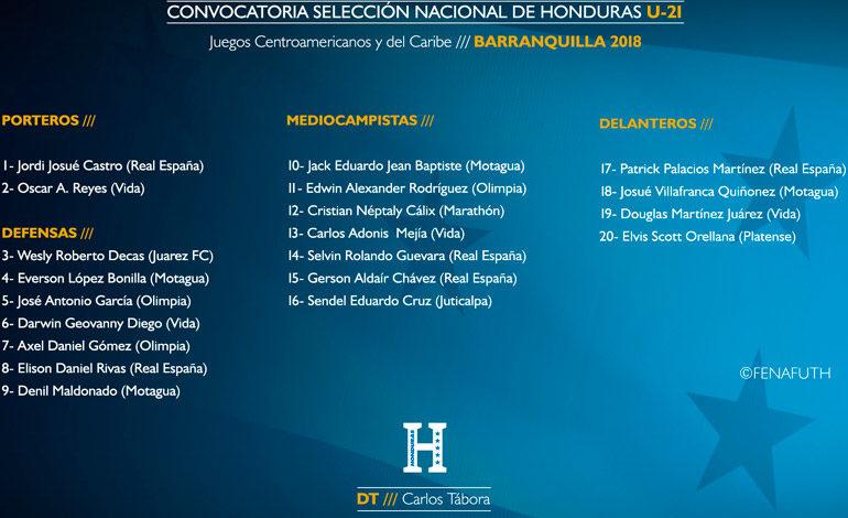 Honduras presenta lista de 20 jugadores para Juegos de Barranquilla
