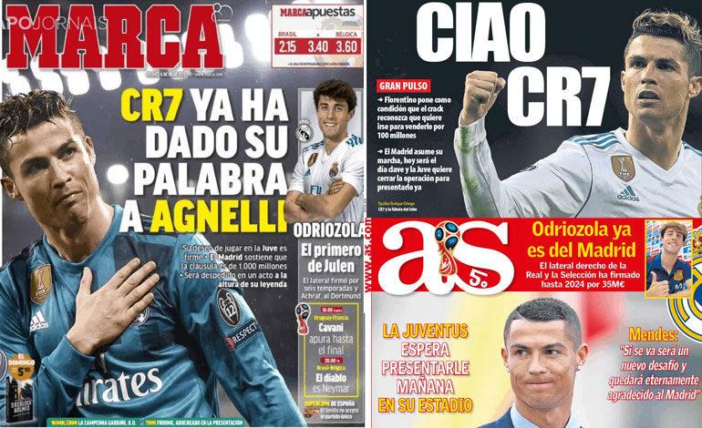 "La prensa española dice ""Ciao"" a Cristiano Ronaldo, esperado en Turín"