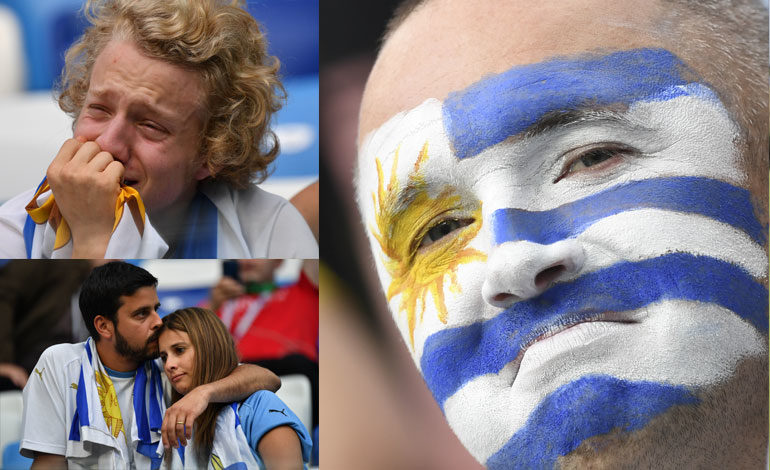Fanáticos uruguayos, entre lágrimas por la derrota y orgullo por el equipo