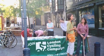 Lambeth Cyclists at a stall in Brixton. Credit: Philip Loy