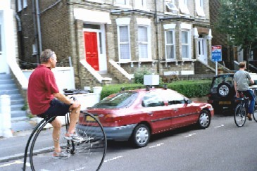 Cycling on a Pennyfarthing through Clapham