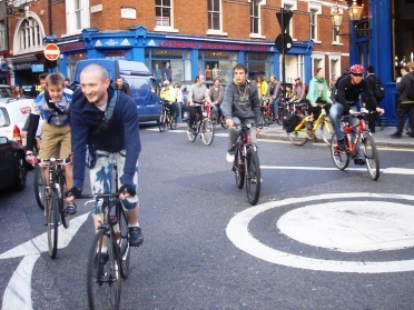 A recent Critical Mass goes through Covent Garden
