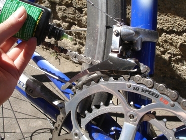 You should lubricate your chain regularly to keep it in good condition