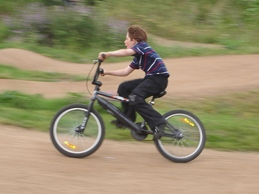 Racing around Burgess Park Bike Track