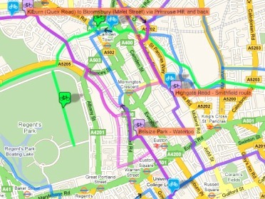 The mapping system shows different routes, bike shops, parking and more