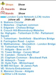 A screenshot of the menu showing LCN routes and options including show bike shops and show parking