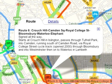 Information about London Cycle Network Route 6 on the system