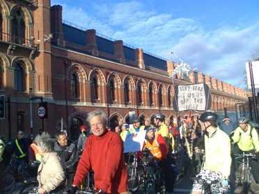 The protest at St Pancras Credit: Ralph Smyth