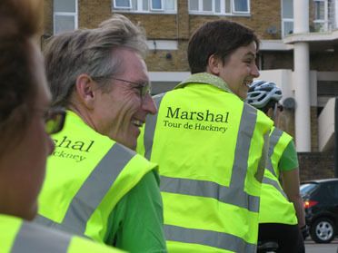 Shoreditch Festival volunteers enjoying the Tour de Hackney