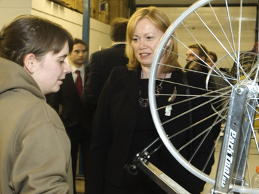 Angela Smith visiting Bikeworks