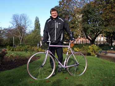 Matthew House shows off his prize Witcomb road bike