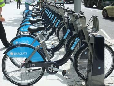 Barclays cycle hire docking station Credit: Mike Cavenett