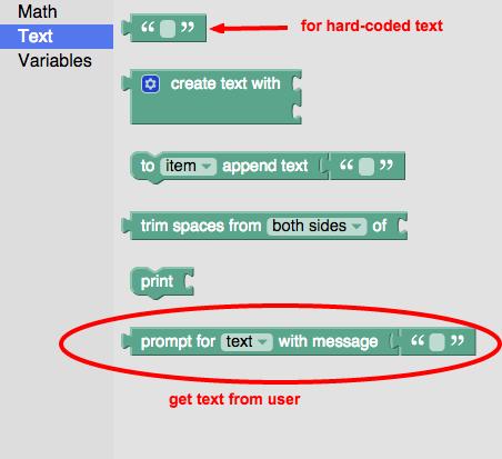 Blockly Text Blocks