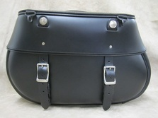 Black Leather Saddlebag for Harley Davidson, Indian, Yamaha, Kawasaki, Suzuki motorcycles, available in white, brown leather and custom colors